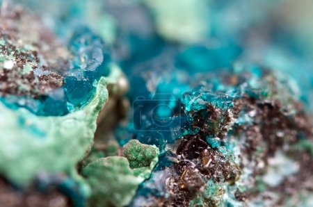 Photo for Chrysocolla is a hydrated copper cyclosilicate It has the chemical formula (Cu,Al)2H2Si2O5(OH)4nH2O.Cyan (blue-green) crystal. Macro. Beautiful fantastic background for successful business projects and other Your variant - Royalty Free Image