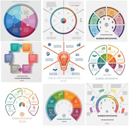 Illustration pour La valeur 9 modèles, processus cycliques conceptuels d'affaires infographie, six postes de la zone de texte peut utiliser pour le flux de travail, bannière, diagramme, webdesign, chronologie, graphique en aires - image libre de droit