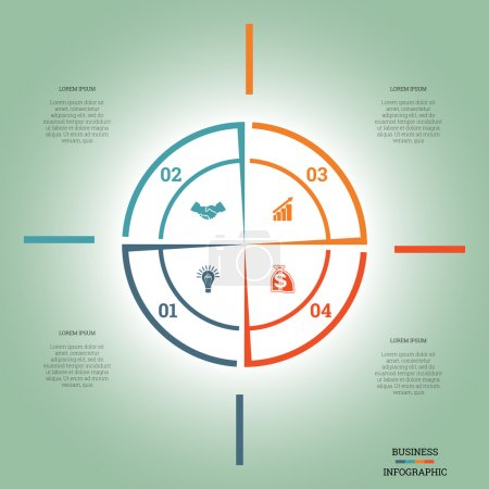 Infographic Pie chart template colourful circle four positions