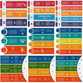 9 templates Infographics cyclic processes Business concept  colorful strips on three four five options possible to use for work flow banner diagram web design time line area