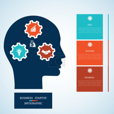 Illustration for Vector image for infographic, head with gearwheels, thinking human target purpose startup business concept, template for three positions, steps, options or parts - Royalty Free Image