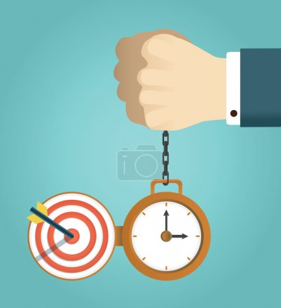 Vector concept of deadline and successfully completed work. Hand holding watch. Time management, start up and result