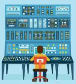 Vector illustration of work place sound engineer's Mixing console Analog synthesizer