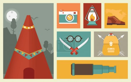 Illustration for Set of flat camping equipment symbols. Adventure and traveling - vector illustration - Royalty Free Image