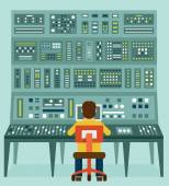 Flat illustration of expert with control panel Analytics and management