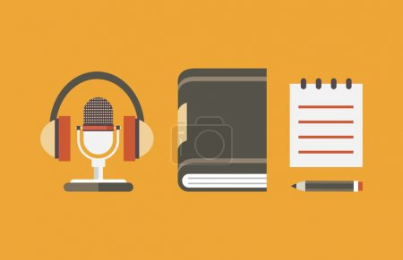 Vector flat objects for audio podcast