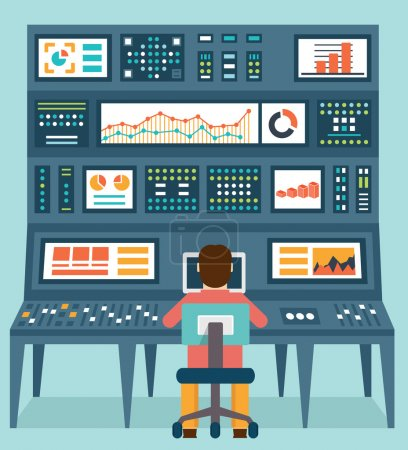 Illustration for Vector flat concept of analytics information and data handling - vector illustration - Royalty Free Image
