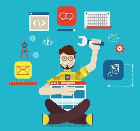 Illustration pour Conception, optimisation et création d'applications pour les appareils mobiles. Vector flatstyle - illustration vectorielle - image libre de droit