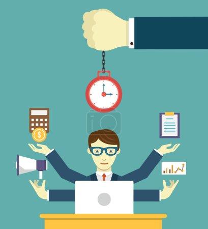 Illustration pour Gestion du temps - gage de succès. Planification d'entreprise et résultats - illustration vectorielle - image libre de droit