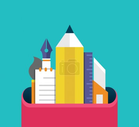 Set of graphic designer items and tools, office various objects and equipment. Flat style