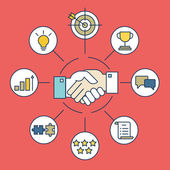 Vektorové infografiky obchodní dohodu a interakce