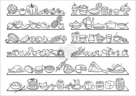 Illustration for Doodle food icons - Royalty Free Image