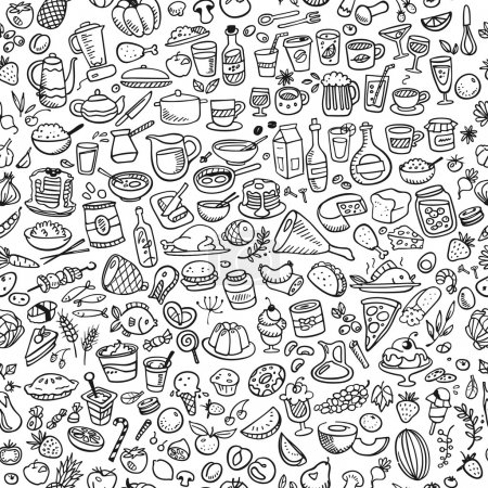 Doodle food icons seamless background...
