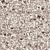 vector doodle coffee  seamless background