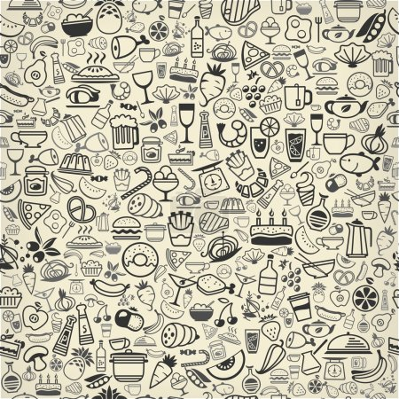 Photo pour Backround sans couture en aliments et boissons icônes, illustration vectorielle - image libre de droit