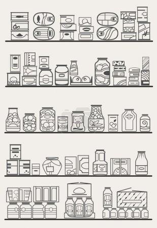 Illustration for Store shelves with different preserves and canned goods - Royalty Free Image