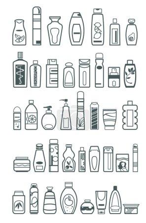 Illustration pour Différents produits cosmétiques pour soins personnels, illustration vectorielle - image libre de droit