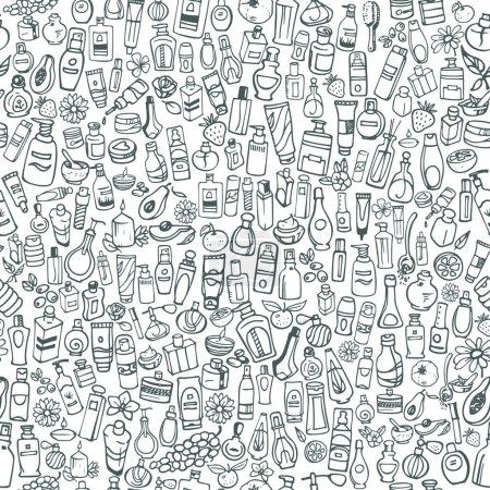 Illustration pour Différents produits cosmétiques pour soins personnels, dessinés à la main - image libre de droit