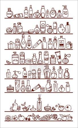 Illustration pour Gribouille dessinée à la main produits cosmétiques sur des étagères - image libre de droit