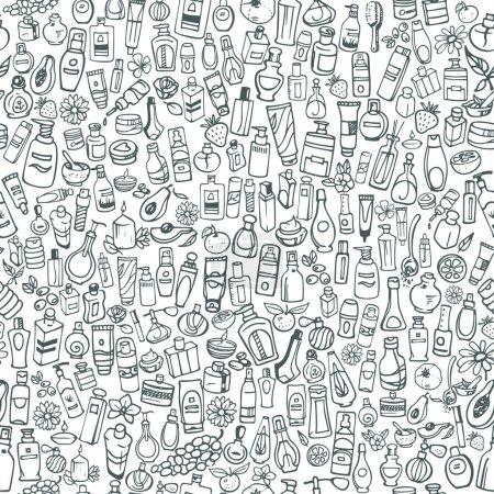 Illustration pour Doodle produits cosmétiques dessinés à la main fond sans couture - image libre de droit