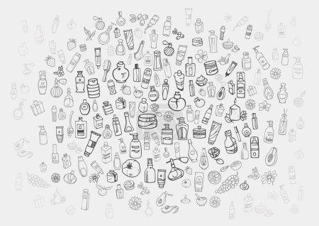 Illustration pour Doodle dessiné à la main cosmétiques et produits d'auto-soins fond - image libre de droit