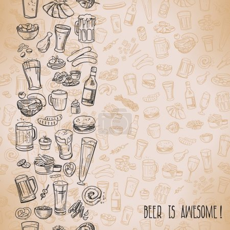 Sketchy beer and snacks, vector hand-drawn backgro...