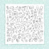 Health care and medicine doodle icon set Vector illustration