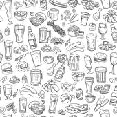 sketchy beer and snacks seamless background