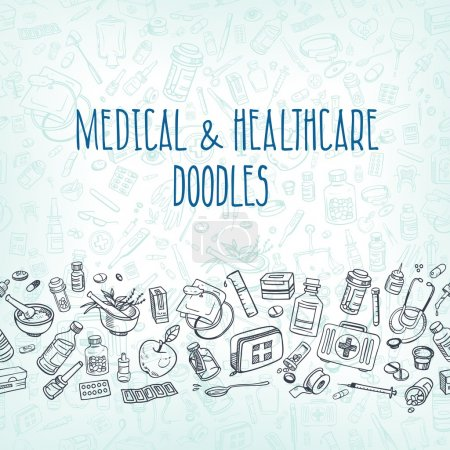 Illustration for Health care and medicine doodle background. Vector illustration - Royalty Free Image