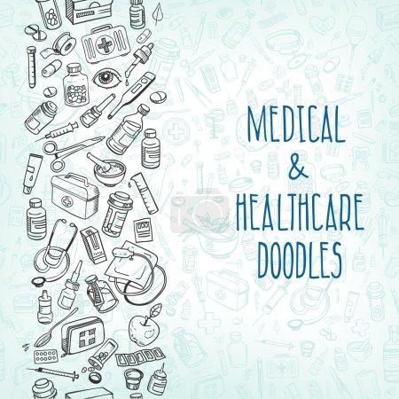 Illustration for Health care and medicine doodle background. Vector illustration - Royalty Free Image