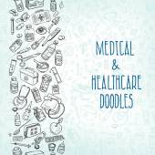 Health care and medicine doodle background Vector illustration