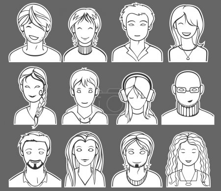Illustration for Unrecognizable men and women faces, vector illustration - Royalty Free Image