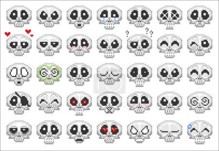 pixel skull smiley icons set