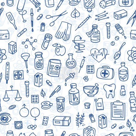 Health care doodle icons background