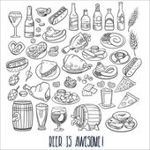 hand drawn beer and food