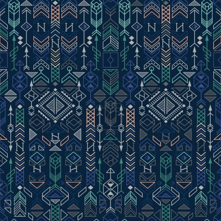 Illustration for Seamless ethnic pattern with native american motifs, vector - Royalty Free Image
