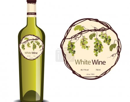label for white wine and a sample placed on the bottle