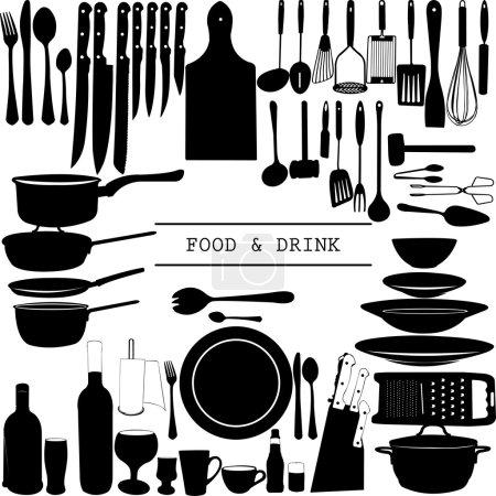 Photo pour Ustensiles de cuisine Food and Drink isolés - vecteur - image libre de droit