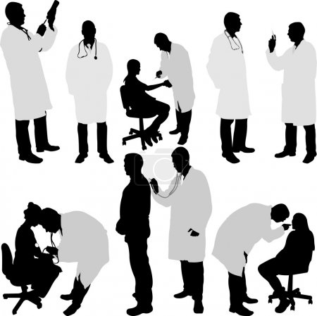 Doctor and patient silhouette