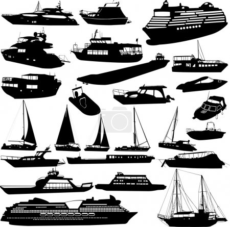 Illustration for Ships and boats silhouettes  collection - vector - Royalty Free Image