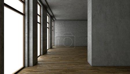 Foto de Render 3D. interior en blanco. muros de concreto - Imagen libre de derechos
