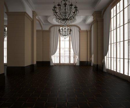 3d rendering.Classic hall, blank interior. Wooden dark parquet floor. Light Cream walls