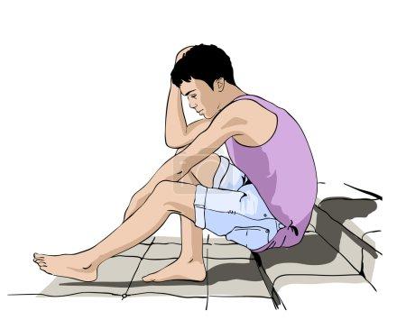 Fashion model. Sketch. Vector illustration. Steps. Thinking guy