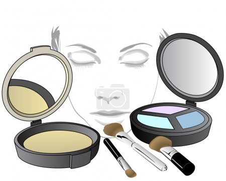 Illustration for Set of cosmetic product for face! Makeup product for eyes, face and tools. Mascara, eyeshadow, eyeliner, eyebrow pencil, brushes, sponge, foundation, powder - Royalty Free Image