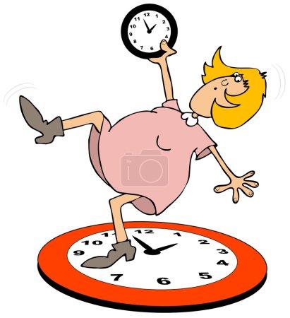 Photo pour Cette illustration représente une femme retombant sur une grande horloge pour l'heure d'été . - image libre de droit