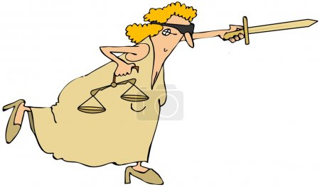 Photo pour Cette illustration représente Lady Justice équilibre sur une jambe avec son épée tendue . - image libre de droit