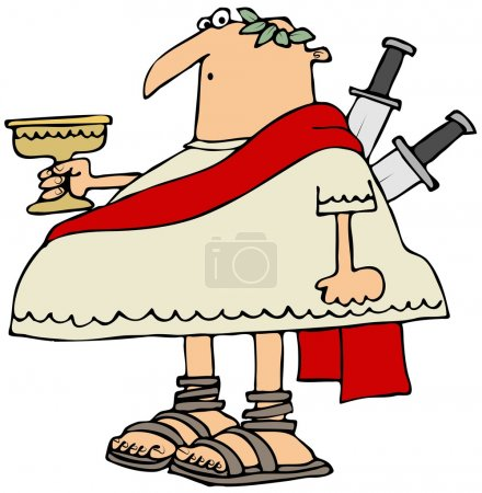 Photo pour Cette illustration représente Jules César tenant un gobelet avec 2 couteaux coincés dans son dos . - image libre de droit