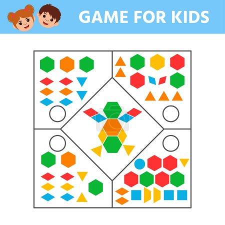 Illustration pour Education jeu de logique pour les enfants d'âge préscolaire pour le développement de la pensée logique. Connectez les détails et les formes géométriques colorées. Activité de feuille de travail préscolaire. Enfants drôle de divertissement énigme - image libre de droit