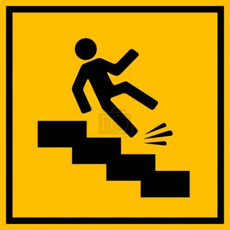 Slippery stairs warning sign vector illustration i...