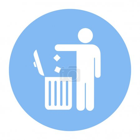 Illustration for No littering, use trash can vector icon illustration isolated on white background - Royalty Free Image